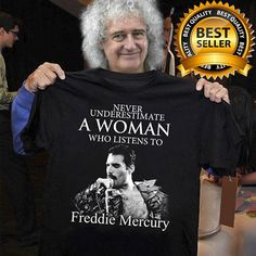 5353a50c A Woman Who Listens To Freddie Mercury T Shirt Black Cotton Full Size  Freddie Mercury Quotes