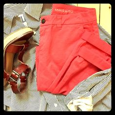 "Gap Khakis by Gap Broken-In Straight pants Ready for the resort, these coral Gap khakis are relaxed and versatile and oh so classy for happy hour, picnics, or just chilling on your vacay. The fit is ""Broken-In Straight"", and the rolled cuff is just darling! In great condition, meant to look a little bit lived in. GAP Pants"