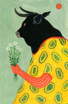 Cow With Flowers, an art print by N Gower Wallis Arte Indie, Guache, Hippie Art, Collage Art, Cute Art, Art Inspo, Art Projects, Art Drawings, Art Photography