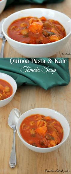 Quinoa Pasta & Kale Tomato Soup is the perfect comforting meal idea. #RedpackRecipes #RedpackTomatoes #ad