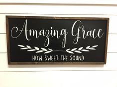 Items similar to Amazing Grace Sign - Large Wood Sign - Farmhouse Signs - Rustic Home Decor - Wood Wall Hanging - Cottage Sign - Black Sign - Farmhouse Decor on Etsy Home Decor Signs, Room Signs, Diy Signs, Wall Signs, Grace Sign, Board And Brush, Farmhouse Signs, Farmhouse Decor, Farmhouse Books