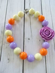 Candy bubblegum necklace purple cream and by PaigeandPenelope, $20.00, chunky bubblegum necklace