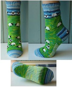 Sheep Run Socks or Take your sheep for a walk - are a pair of socks that are inhabited by 18 hoggish sheep on their fenced meadow. This pattern is available for €3.50 EUR or about $4.55 CAD.