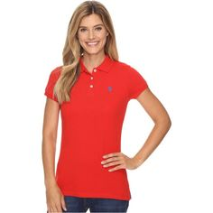U.S. POLO ASSN. Solid Pique Polo Shirt (Racing Red) ($15) ❤ liked on Polyvore featuring tops, red, red polo shirt, polo collar shirts, red short sleeve top, red top and short sleeve tops