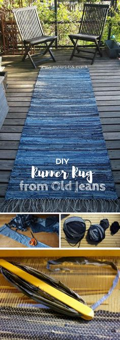 10 Awesome Ways to Use Old Jeans for Decor Tutorial on how to make a runner rug from old jeans denim. Looks easy enough! The post 10 Awesome Ways to Use Old Jeans for Decor appeared first on Denim Diy. Denim Rug, Denim Quilts, Rag Rug Tutorial, Jean Crafts, Denim Ideas, Handmade Home Decor, Handmade Rugs, Rug Runner, Carpet Runner