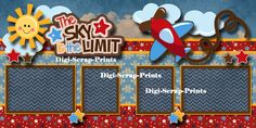 THE SKY IS THE LIMIT 2 premade scrapbook pages for album layout BOY ~ digiscrap | eBay