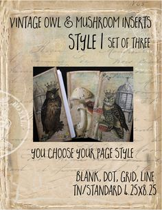 Designer inserts - Vintage Owl & Mushroom style 1 by MyaDoriplanner on Etsy