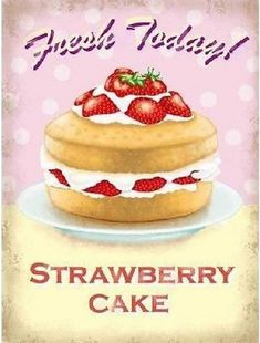 Strawberry Cake : Plaque décorative rétro en métal représentant un gâteau à la fraise. Idéal pour créer une ambiance vintage dans votre intérieur ou pour la décoration d'un troquet, d'une épicerie ou une boulangerie.