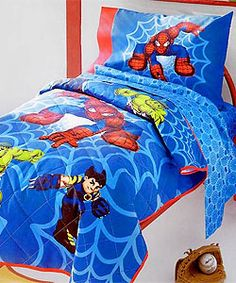 YEP YEP THIS IS GONNA BE Q'S THEN IMMA MAKE THE CRIB BUMBPER..@Overstock - Let your kids live the adventure of Marvel comics every night with this Spiderman and Friends Toddler bedding set. Includes matching comforter, fitted sheet, flat sheet, and pillow ca...http://www.overstock.com/Bedding-Bath/Spiderman-Friends-Toddler-Bedding-Set/1622866/product.html?CID=214117 $29.99