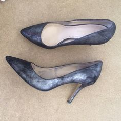 Enzo Angiolini Brushed Metallic Look Heels Beautiful shoes, selling because They are tight on me and I usually wear a 9 in heels no problem. They are tight on the width of my insole, but not the toes so maybe they are just a narrow 9. Enzo Angiolini Shoes Heels