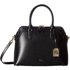 LAUREN Ralph Lauren Newbury Nora Satchel (Black) Satchel Handbags ($228) ❤ liked on Polyvore featuring bags, handbags, zip zip satchel, lauren ralph lauren purse, strap purse, real leather purses and zipper purse