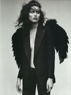 black & white | feathers | bold | photography | suit | dark | beautiful | brunette | black feather | fashion editorial |