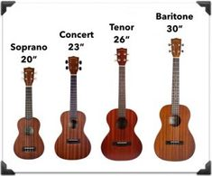 In this post I show you the top things to consider when shopping for your first ukulele. Includes Soprano, Concert Tenor, Baritone, plus all the top brands. Easy Guitar, Guitar Tips, Guitar Songs, Guitar Lessons, Simple Guitar, Soprano Ukulele, Ukulele Chords, Ukulele Sizes, Ukulele Strings