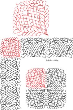 Hearts and Feathers quilting design for pattern repeats. (NOTE: link is Quilting Stitch Patterns, Machine Quilting Designs, Quilt Stitching, Quilt Patterns, Quilting Stencils, Quilting Templates, Quilting Tutorials, Doodle Patterns, Zentangle Patterns