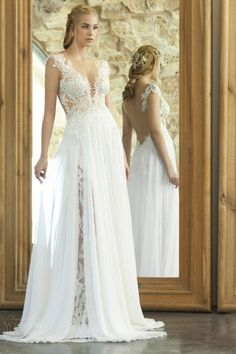 New Arrival Elegant Summer Beach Wedding Dresses 2015 With Chiffon Lace V Neck Side Split Backless A-Line Romantic Charming Bride Ball Gowns Online with $119.27/Piece on Hjklp88's Store