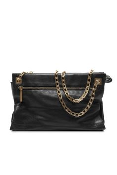 Also new from Victoria Beckham: Black lamb leather with a gold-plated chain.