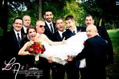 Bride with groomsmen, funny wedding photos