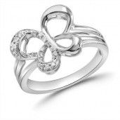 "Jessica Simpson, ""I Am Free"", Sterling Silver Diamond Tilted Butterfly Ring, .07 ctw."