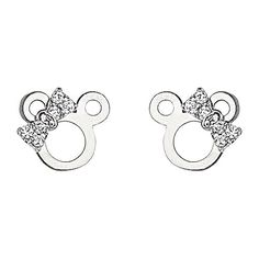 Amazon.com: .925 Sterling Silver Rhodium Plated Mouse Ribbon CZ Stud Earrings with Screw-back for Children & Women: The World Jewelry Center: Jewelry