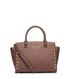 4d23b601f8d6 Selma Medium Studded Saffiano Leather Satchel in Dusty Rose by Michael Kors  Michael Kors Selma,
