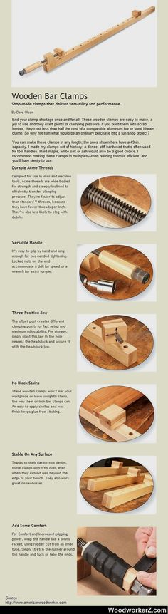 Wooden Bar Clamps. Shop-made clamps that deliver versatility and performance. #WoodworkingTips