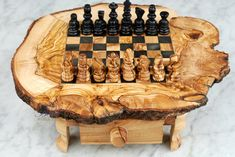 """Gift Idea 6"""" Chessboard Set Game Handcrafted Olive Wood Chess Set Game Natural Rustic Wood on Etsy, $69.00"""
