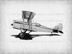 Plane Vintage Airplane Iron on Transfer Fabric by LostColors, $1.50