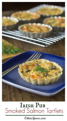Irish pub style salmon tartlets are creamy and delicous! My family's St. Patrick's Day favorite!   ethnicspoon.com