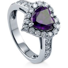 BERRICLE Sterling Silver Simulated Amethyst CZ Halo Heart Engagement... (425 NOK) ❤ liked on Polyvore featuring jewelry, rings, amethyst, women's accessories, cubic zirconia engagement rings, sterling silver rings, sterling silver amethyst ring, sterling silver band rings and fake wedding rings