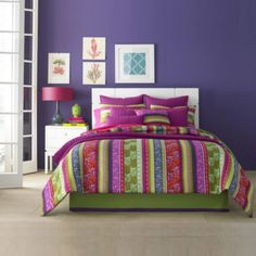 Liven up your bedroom with the bright and bold J by J. Queen New York Lolita Comforter Set. The whimsical bedding features a unique vertical stripe pattern with different floral designs on the stripes in a vibrant color palette. King Size Comforter Sets, King Size Comforters, King Comforter, Queen Bedding, Main Image, Floral Comforter, Queens New York, Bedding Shop, Bedroom Decor
