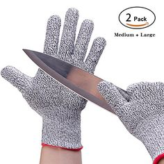 Cut Resistant Gloves - ALISKID [ 2 Pack ] Cut Resistant Gloves including 1 Pair Medium and 1 Pair Large Size Gloves Level 5 Protection Level 5, Home Improvement, Gloves, Packing, Pairs, Garlic Press, Medium, Scale, Fish