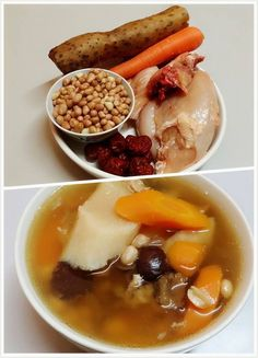 Wai San Root with Carrot & Peanuts Soup Chinese Soup Recipes, Healthy Soup Recipes, Asian Recipes, Cooking Recipes, Asian Foods, Balsamic Carrots, Confinement Food, Herb Soup, Fruit Soup