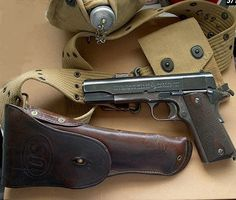 pistol kit with holster. M1911 Pistol, Revolvers, Colt 1911, Custom Guns, Cool Guns, Firearms, Shotguns, Assault Rifle, Military Equipment