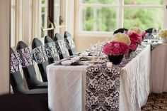 Head table damask runner, black, white, pink, wedding reception table.