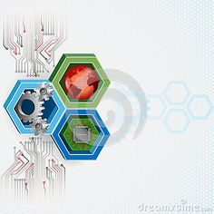 Background with three modern factors electronics, mechanics and internet