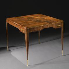 "Émile-Jacques Ruhlmann ""DUBLY"" GAMES TABLE, MODEL AR1076/NR1263 ebénè de macassar, gilt bronze and felt, circa 1927."
