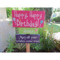 Happy Birthday Yard Signs, Birthday Kids, Birthday Parties, Grey Home Decor, Wood Home Decor, 60th Birthday Centerpieces, Lawn Sign, Bright Colors, Wood Signs