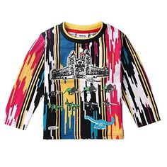 Coralup Castle And Dinosaur Top Boys Long Sleeve T Shirt1824 MonthsMulticolored