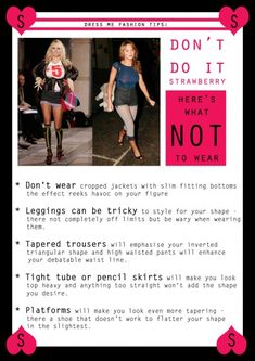 How to dress STRAWBERRY body shape - What NOT to wear 1 Body Shape Guide, Inverted Triangle Fashion, Dressing Your Body Type, Apple Shape Fashion, Triangle Body Shape, Smaller Hips, Apple Body, Body Hacks, Fashion And Beauty Tips