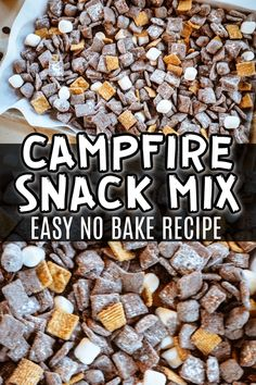 Campfire Snack Mix - Easy No Bake S'mores Snack Mix Recipe Campfire Snacks, Camping Desserts, Camping Meals, Kids Meals, Easy Food For Camping, Camping Appetizers, Adult Camping Party, Camping Party Foods, Camp Foods