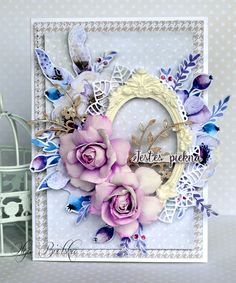 Kartka scrapbooking, papiery Piątek Trzynastego, kwiaty z foamiranu. Card, foamiran flowers.