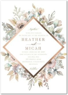 Diamond Blossoms - Signature Foil Wedding Invitations in Aloe or Tea Rose | Lady Jae