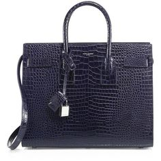 Saint Laurent Sac De Jour Small Croc-Embossed Leather Tote (4,440 CAD) ❤ liked on Polyvore featuring bags, handbags, tote bags, apparel & accessories, deep blue, tote hand bags, yves saint laurent tote bag, tote handbags, blue tote handbags and blue purse