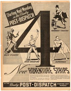 Pop Culture Safari!: Vintage newspaper ad for Superman and other advent...