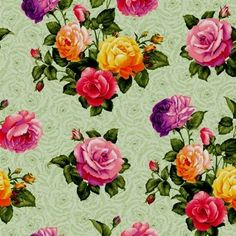 Rose Garden Pink and Yellow Roses on Pale Green Cotton Fabric by The Fat Quarter   eBay