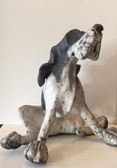 Henry Sitting Original by Christine Cummings #art #artist #ceramics #pigs #RareBreed #Breed #farms #farming #smallholding #animals #husbandry #animal #domestic #pet #truffles #earth #stone #clay #Raku #smoke #firing #kiln #dog #dogs #spaniel #springer #dachshund #ears #eyes #MansBestFriend #littleacorns #Pocklington