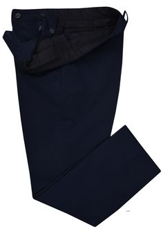 Luxire dress pants constructed in Steel-Blue Twill: http://custom.luxire.com/products/sr_229_steel-blue-twill  Consists of standard extended closure with front slant pockets and 2 rear pockets with buttons.