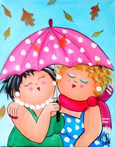 Dicke Dame, die Regenschirm malt – Cursussen- and-Workshops. Umbrella Painting, Plus Size Art, Fat Art, Happy Paintings, Owl Paintings, Illustration Art, Illustrations, Fat Women, Whimsical Art