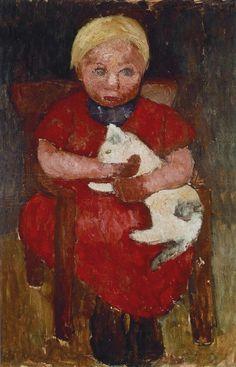 Meisje met een Kat, 1905 Olie op karton