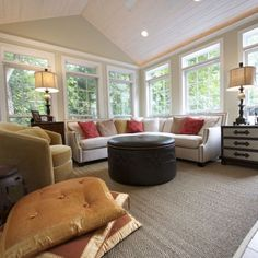 Project Description: Heirloom Design Build created an addition onto the house to create a lavish look. This example of sunroom addition is located… Family Room Addition, Sunroom Addition, Porches, Sunroom Decorating, Sunroom Ideas, Porch Ideas, Decorating Ideas, Decor Ideas, Sunroom Windows